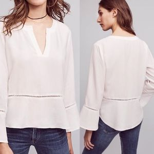 Anthropologie Cloth Stone White Ladder Lace Blouse
